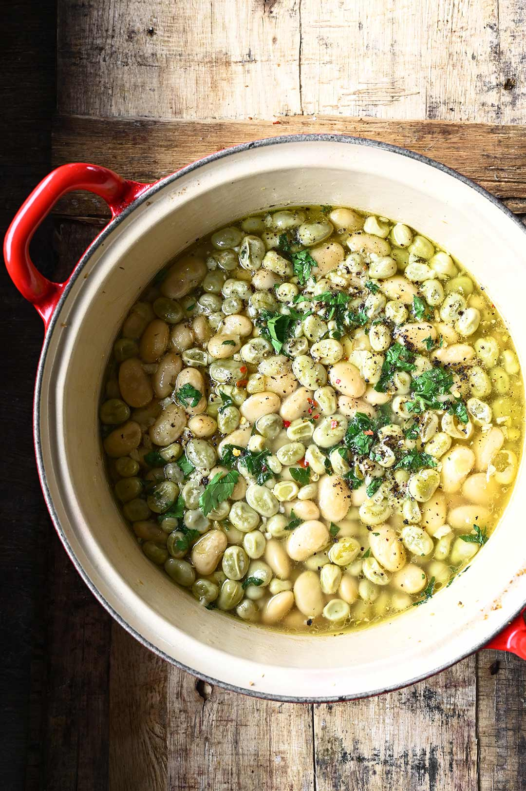 brothy beans with garlic and parmesan