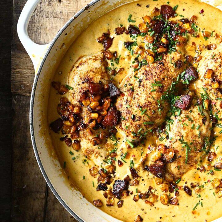 creamy chicken with corn and chorizo