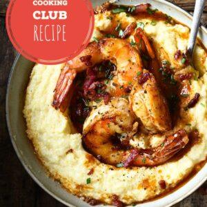 Cheesy Polenta with Shrimp and Crispy Bacon