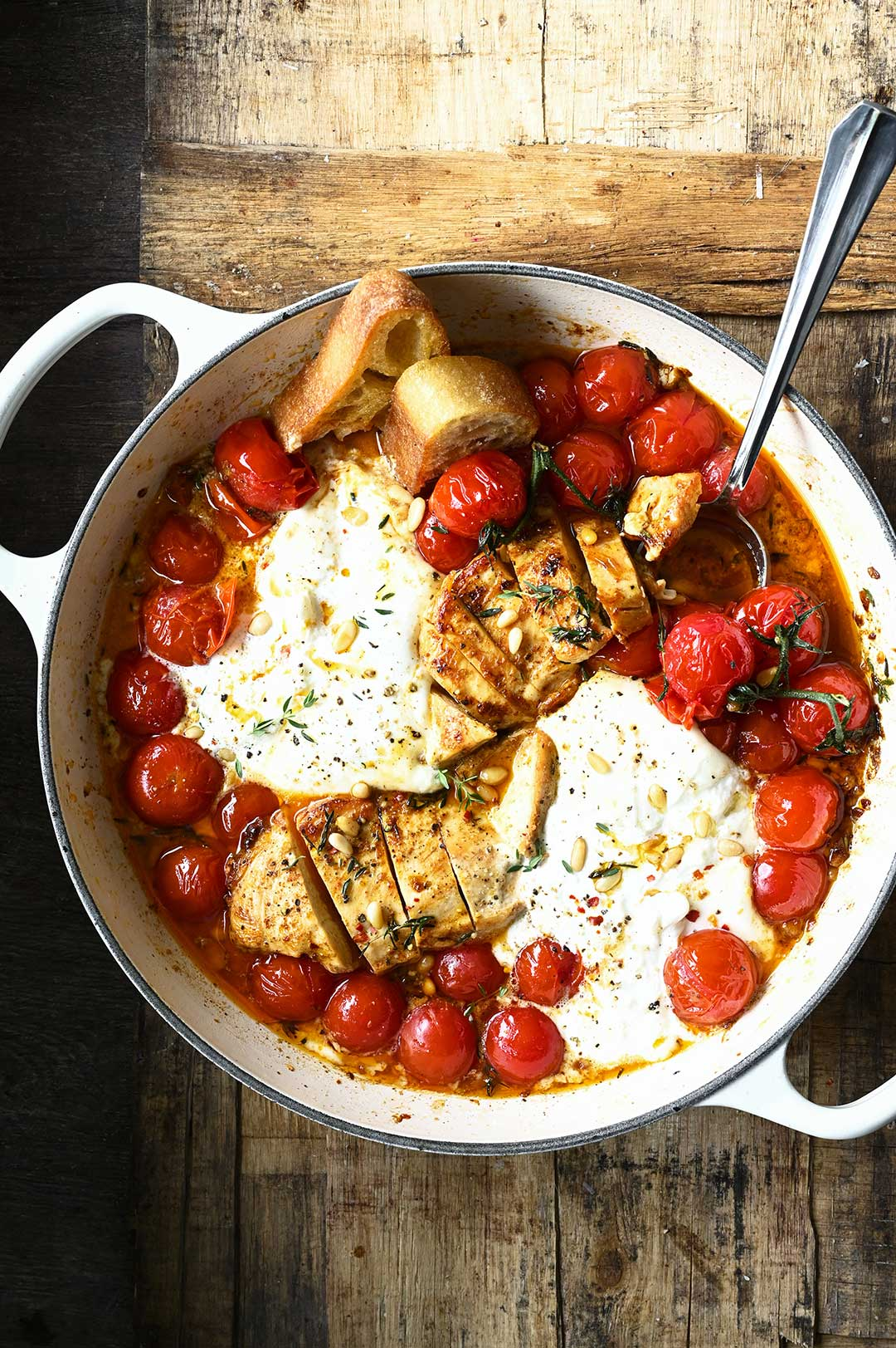 Chicken with Braised Tomatoes and Burrata