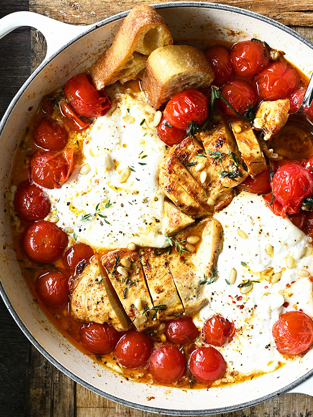 30 Minute Chicken with Braised Tomatoes and Burrata