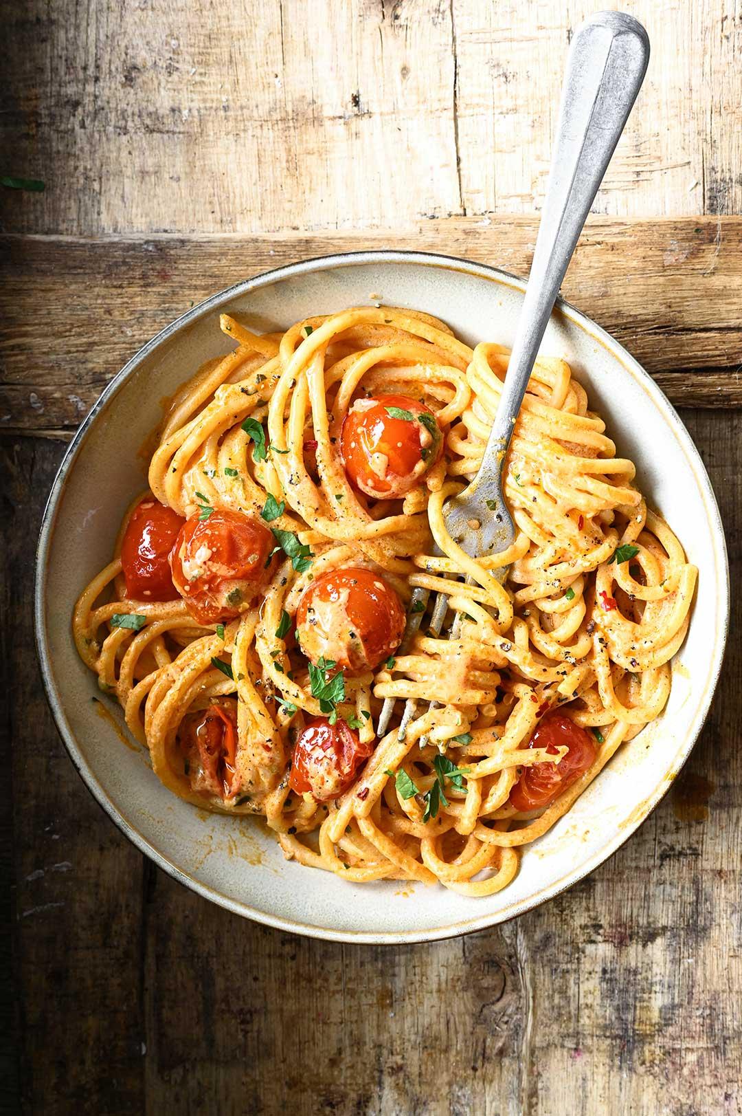 serving dumplings | Spicy Tomato and Cream Cheese Spaghetti