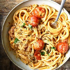 Spicy spaghetti met Boursin en kerstomaten