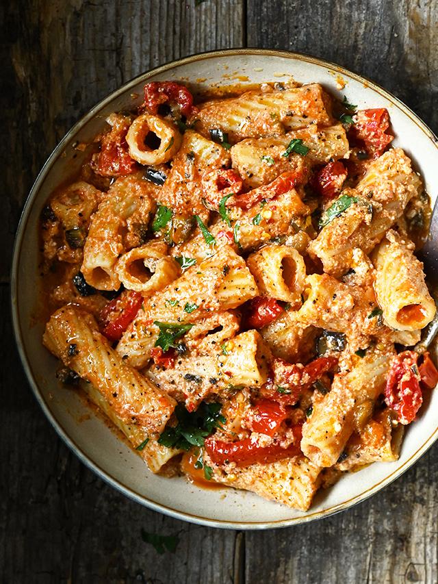 Eggplant and Sun Dried Tomato Pasta with Ricotta