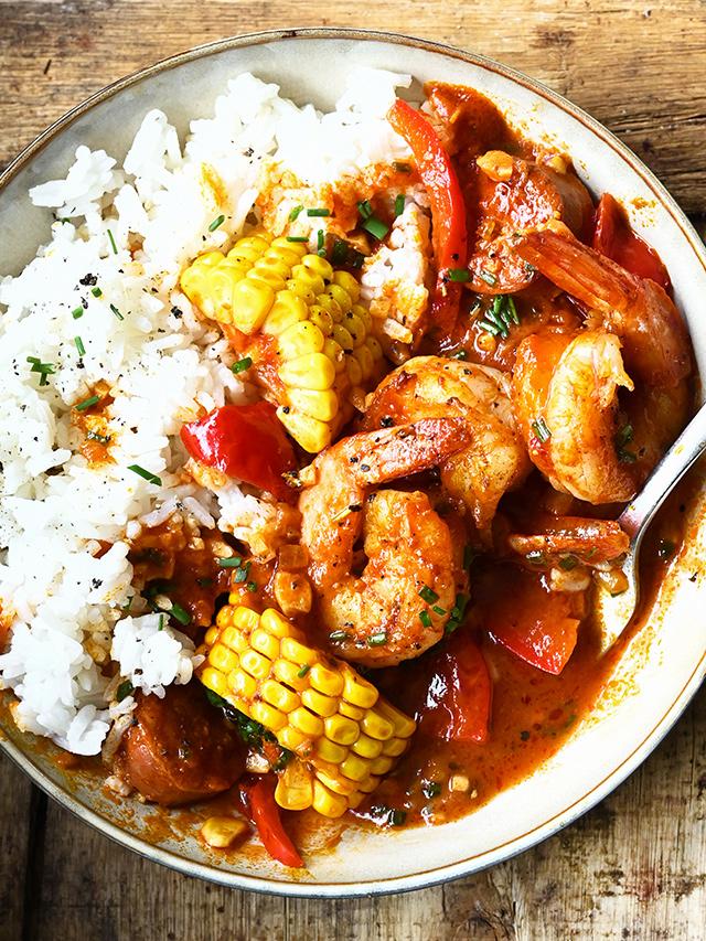One-Pan Shrimp with Spanish Chorizo and Corn