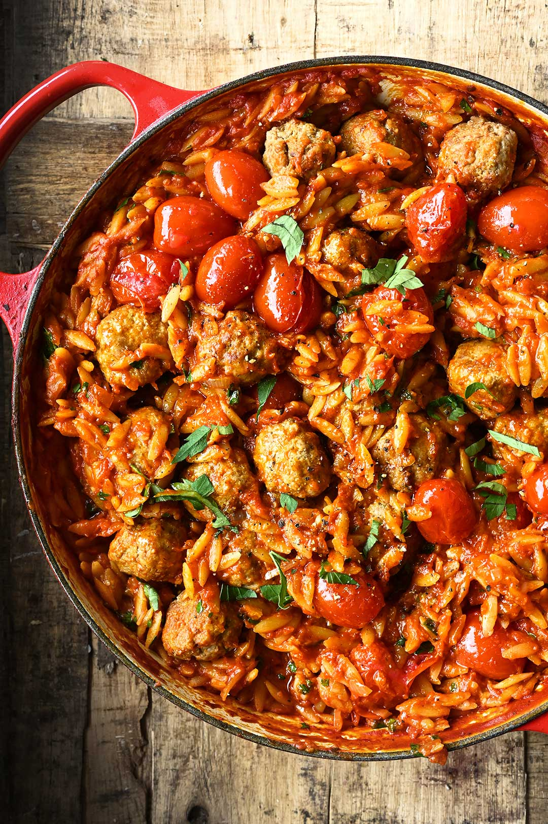 serving dumplings | Meatballs in tomato sauce with orzo