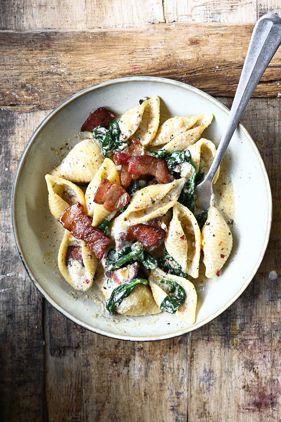 serving dumplings | Spinach and Bacon Pasta with Ricotta