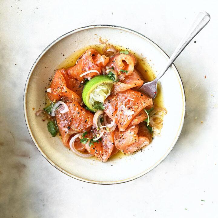 Salmon Crudo with Soy Sesame Oil