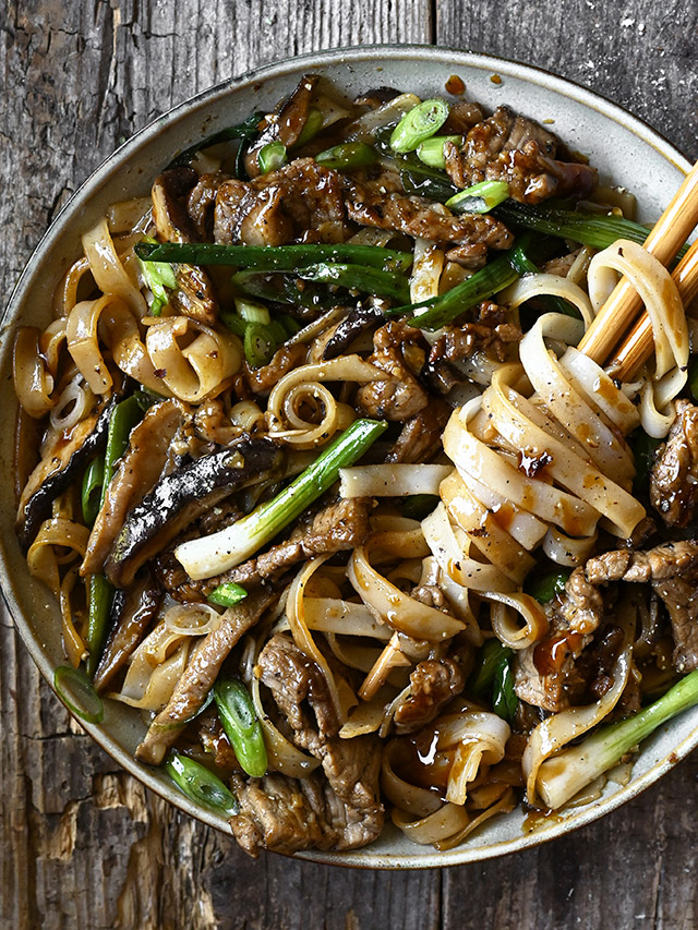 20 minute Beef and Shiitake Noodle Stir-Fry