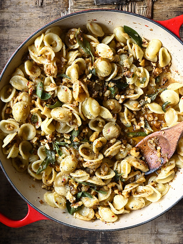Brown Butter Orecchiette with Walnuts and Sage