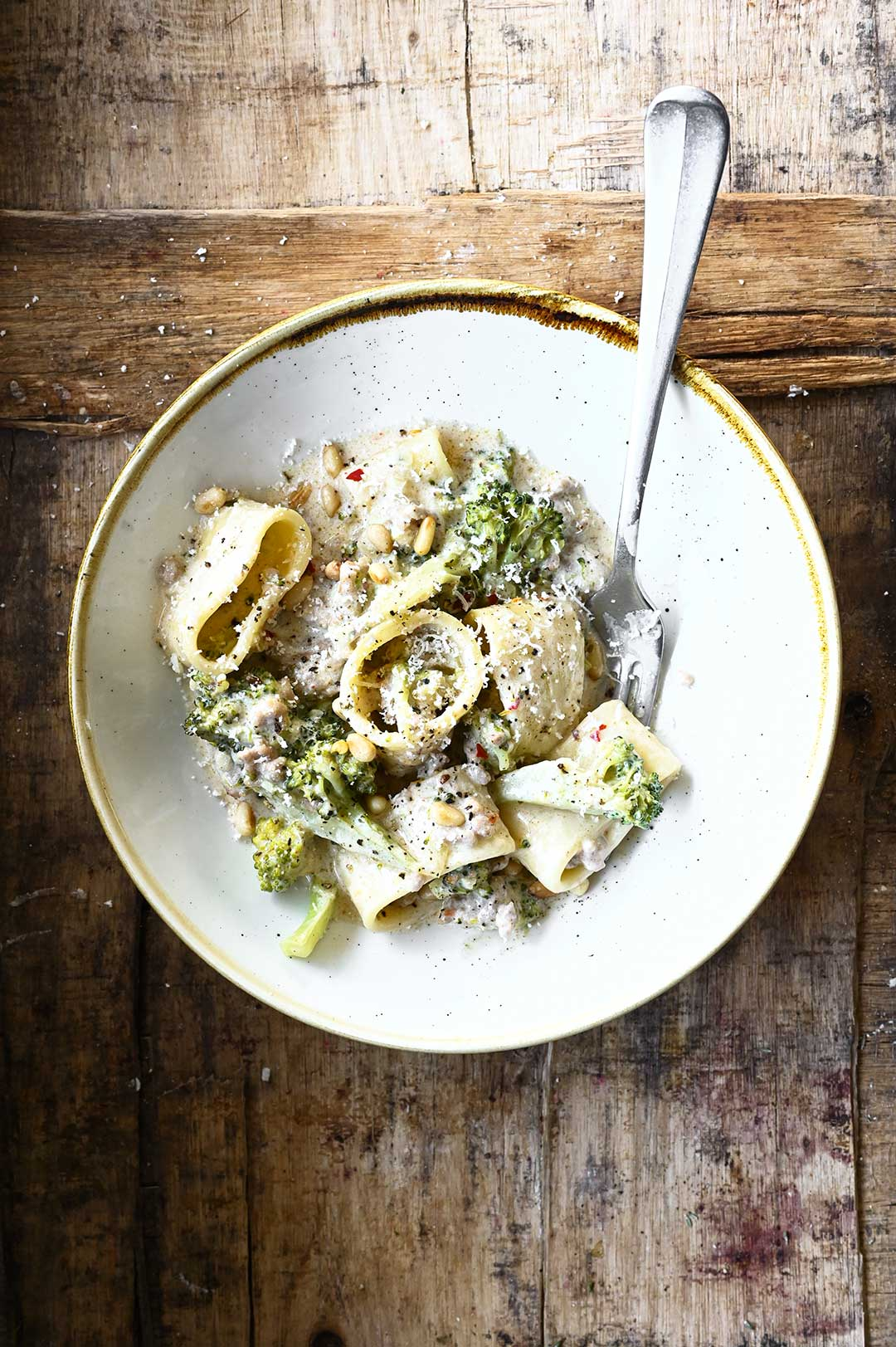 creamy pasta with pork and broccoli